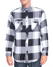 Shirts - Windowpane Plaid Flannel Shirt