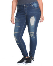 Plus Size - Sandblasted Destructed Skinny Jean (Plus)