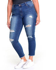 Plus Size - Sandblasted Frayed Hem Ankle Biter Stretch Skinny Jean (Plus)