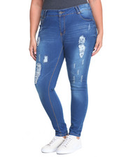 Women - Destructed Roll Cuff Skinny Jean (Plus)