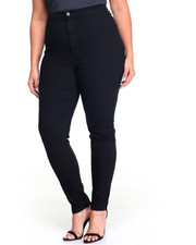 Plus Size - Hi Waisted 1-Button Stretch Skinny Jean (Plus)