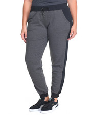 Plus Size - 2 Tone Colorblock Pocketed Active Terry Jogger