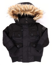 Heavy Coats - BUBBLE JACKET W/ FAUX FUR TRIMMED HOOD (4-7)