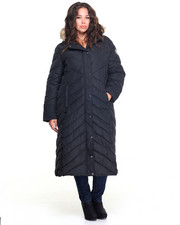 Plus Size - Memory Maxi Puffer Long Coat W/Faux Fur Trim (plus)