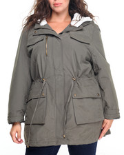 Plus Size - Light Weight Cotton Military Utility Jacket (plus)