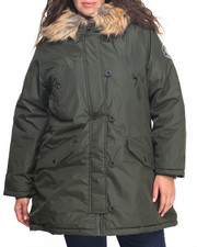 Plus Size - Puffer Parka w/faux fur hoods (PLUS)