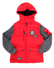 Heavy Coats - PUFFER JACKET W/ FLEECE SLEEVES  (8-20)
