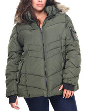 Plus Size - Hooded Puffer W/Faux Fur (plus)