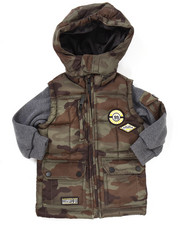 Heavy Coats - PUFFER JACKET W/ FLEECE SLEEVES (2T-4T)