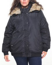 Plus Size - Nylon Hooded Bomber Jacket w/ Faux Fur trim (plus)
