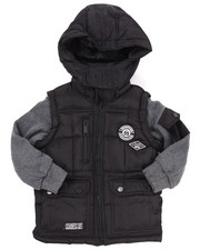 Heavy Coats - PUFFER JACKET W/ FLEECE SLEEVES (4-7)