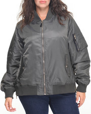 Steve Madden - Oversized Satin Flight Bomber W/Faux fur lining and zippers (plus)
