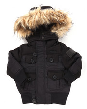 Heavy Coats - BUBBLE JACKET W/ FAUX FUR TRIMMED HOOD (2T-4T)