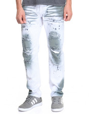 Men - Distressed Rip and Repair Twill Pant