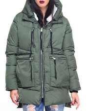 Outerwear - Oversized Faux Down Hooded Puffer Coat w/Faux Sherpa Lining