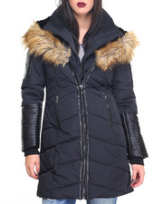 Women - Vegan Leather Trim Faux Down Quilted Bomber