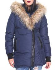 Heavy Coats - Asymmetrical Faux Fur Hooded Puffer Heavy Coat