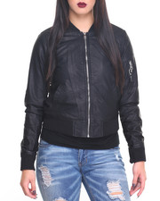 Outerwear - Vegan Leather Bomber Jacket