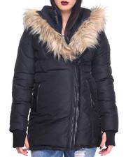Women - Asymmetrical Faux Fur Hooded Puffer Heavy Coat