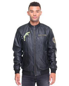 Men - Leather Bomber w Versace Patches