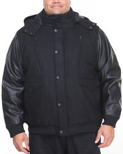 Men - Hooded P U Bomber Jacket (B&T)