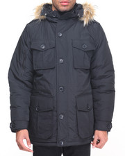 Men - Button Pocket Hooded Parka