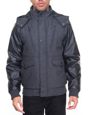 Men - Hooded P U Bomber Jacket