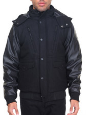 Heavy Coats - Hooded P U Bomber Jacket