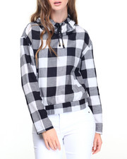 Fashion Lab - Twill Buffalo Plaid Drawstring Funnelneck Smocked Waist Top
