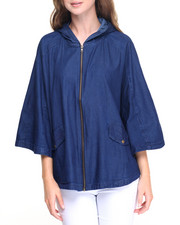 Fashion Lab - Zip Front Denim Hooded Poncho