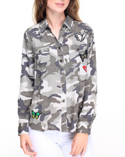 Fashion Lab - Camo Butterfly Patchwork Shirt