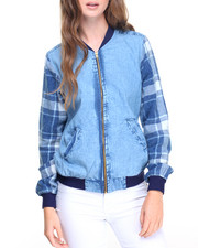 Fashion Lab - Acid Wash Flannel Sleeves Zip Front Denim Bomber Jacket