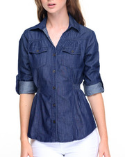 Fashion Lab - Smocked Waist Denim Shirt