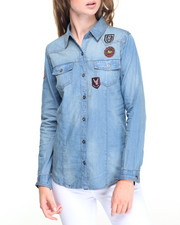 Fashion Lab - Patchwork Sandblasted Denim Shirt