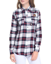 Fashion Lab - Plaid Patchwork Shirt