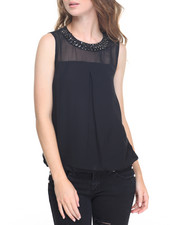 Fashion Lab - Beaded Neckline Buble Georgette Top