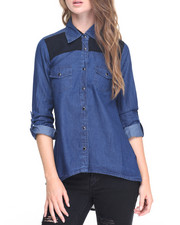 Fashion Lab - Front Yoke/Back Chiffon Denim Colorblock Hi-Low Hem Shirt