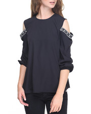 Fashion Lab - Cold Shoulder Rhinestone Trim Georgette Top