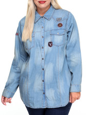 Polos & Button-Downs - Patchwork Sandblasted Denim Shirt