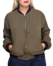 Plus Size - Colorblock Bomber Fly Jacket