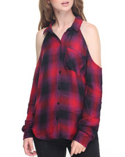 Fashion Lab - Plaid Cold Shoulder Top