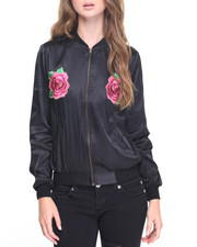 Fashion Lab - Japanese Satin Floral Embroidery Fly Jacket