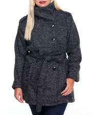 Plus Size - Belt Wrap Fleece Coat (plus)