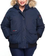 Plus Size - Weather Gear Hooded Bomber Coat (Plus)