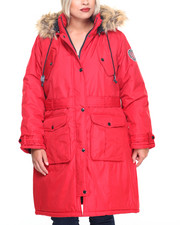 Rocawear - Patch Pockets Hooded Long Puffer Coat (Plus)