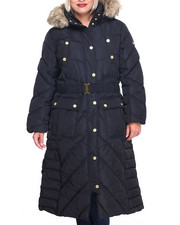 Rocawear - Matrix Diagonal  Pattern Full Length Puffer Coat (Plus)