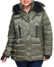 Women - Hooded Quilted Puffer Coat (Plus)