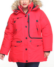 Plus Size - Weather Gear Hooded Parka Coat (Plus)