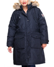 Women - Patch Pockets Hooded Long Puffer Coat (Plus)