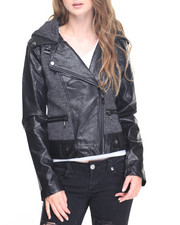 Women - Asymmetrical Mixed Media Moto Jacket